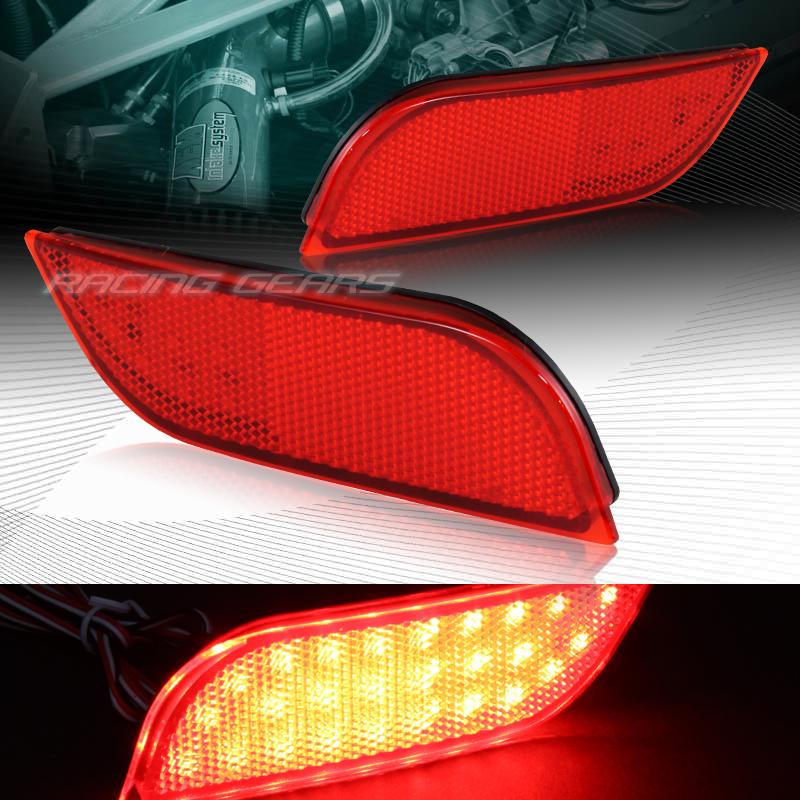 RED LENS LED REAR BUMPER REFLECTOR BRAKE LIGHTS FIT 13-15