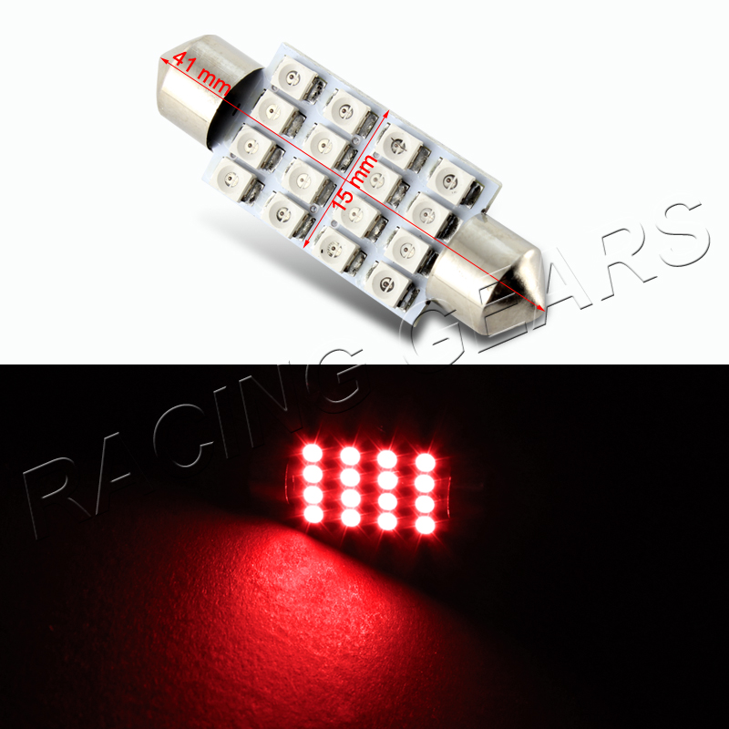 2x 41mm 16 Smd Red Led Panel Interior Replacement Dome Light Lamp Festoon Bulb Ebay