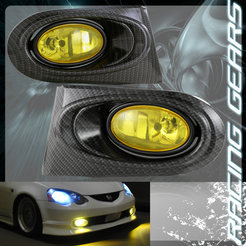 FOR ACURA RSX CARBON FIBER STYLE COVER YELLOW LENS FOG