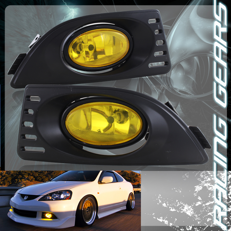 For 05-07 Acura RSX Chrome Housing Yellow Lens Front