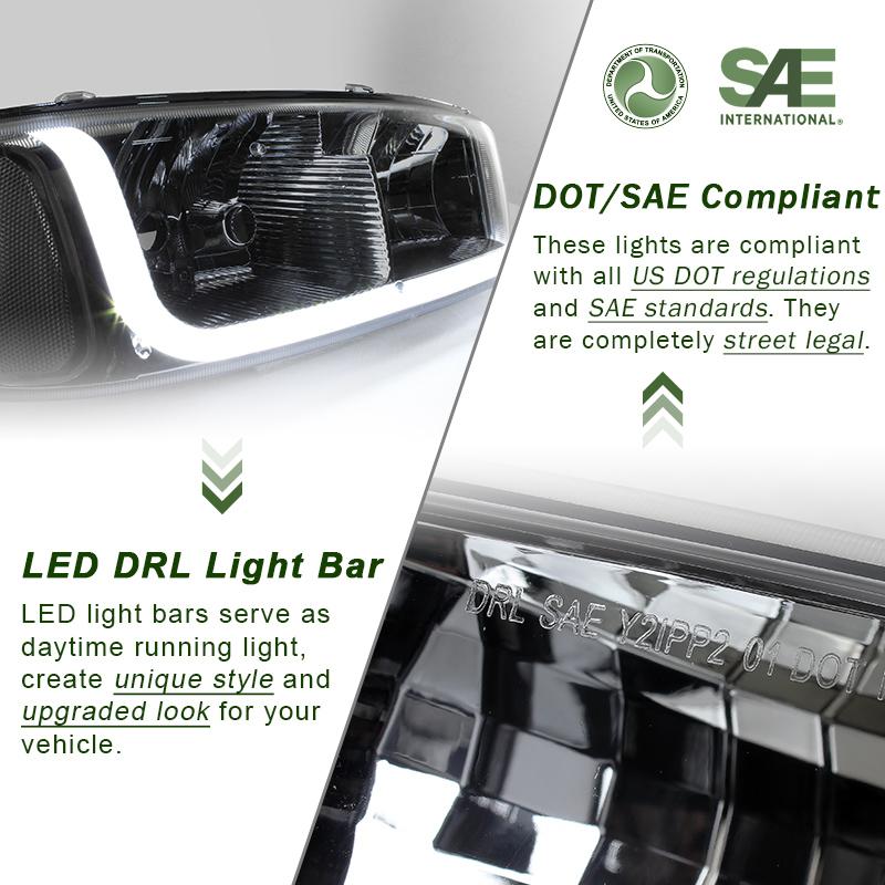 Fit 01-07 GMC Sierra//Yukon Denali LRD DRL Chrome Clear Headlights+Bumper Lamps