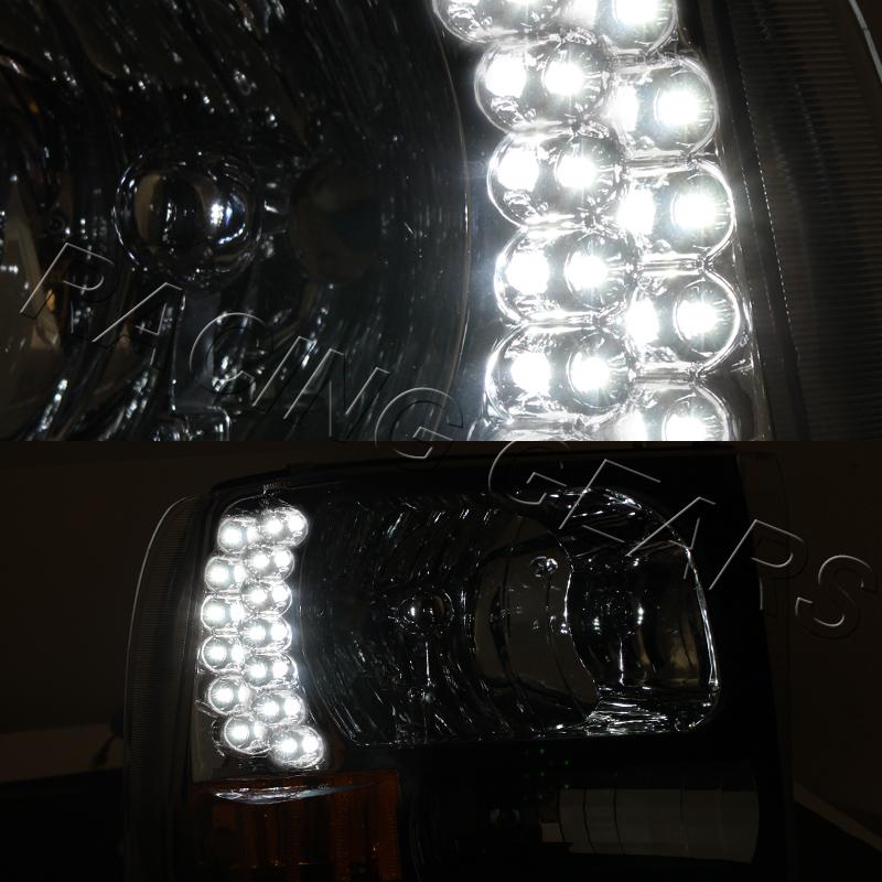 CHROME HOUSING CLEAR LENS LED HEAD LIGHTS FIT 99-04 FORD F250//F350 SUPER DUTY