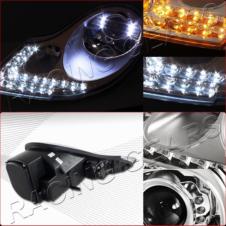 Porsche 996 Headlamp Bulb: For 97-04 Porsche Boxster 98-01 911 Chrome Housing LED DRL