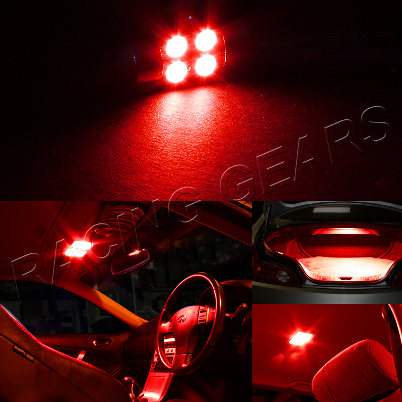 2x Universal 31mm Red 4 Smd Led Festoon Replacement Dome Map Glove Light Bulb Ebay
