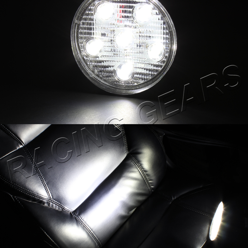 round white led 12v 18w 1500 lumen spot off road flood beam work light lamps ebay. Black Bedroom Furniture Sets. Home Design Ideas