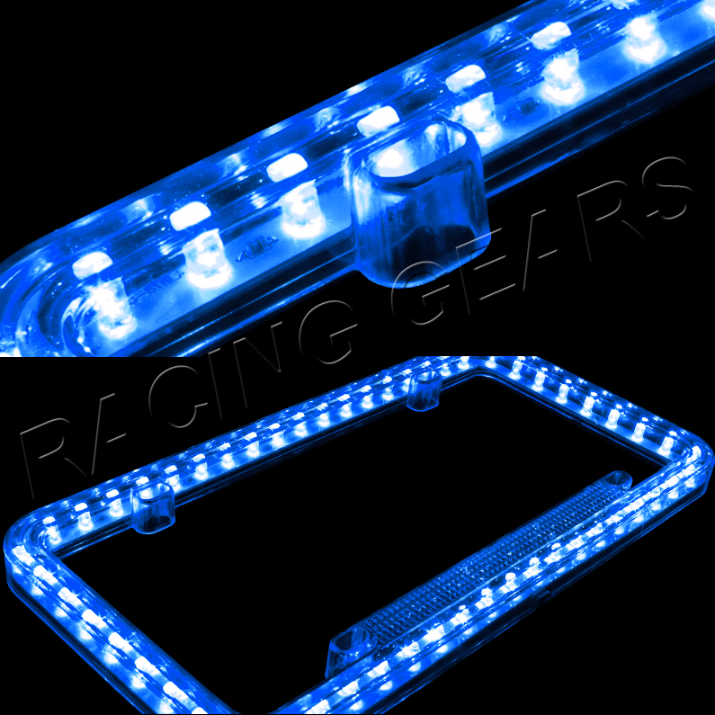 How To Look Up License Plate Number >> 54 Blue LED Lighting Acrylic Plastic License Plate Cover ...