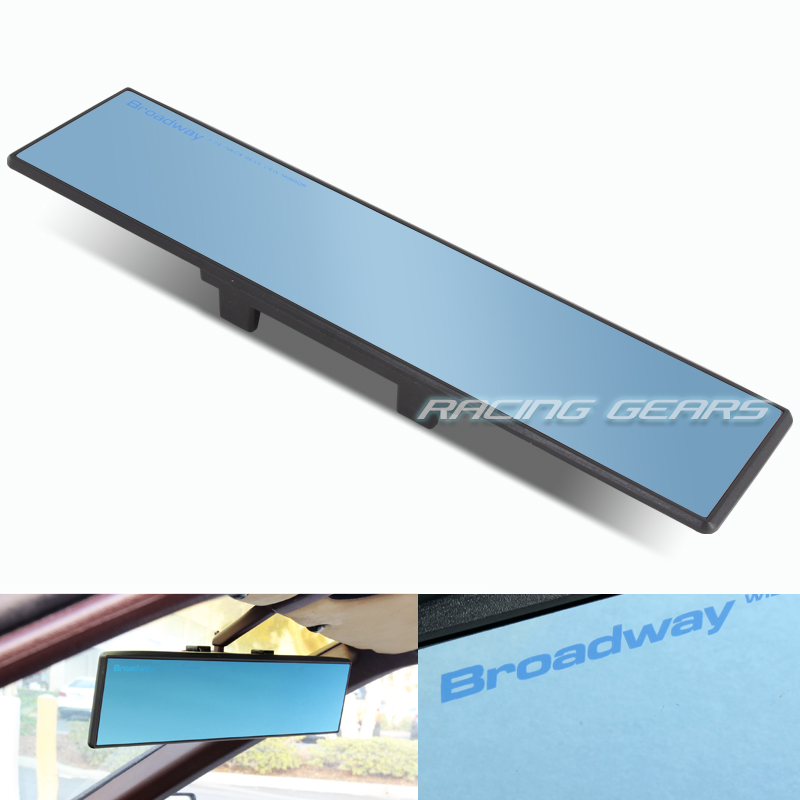 Blue Broadway 300MM Wide Flat Tint Interior Clip On Rear View Mirror Universal 4
