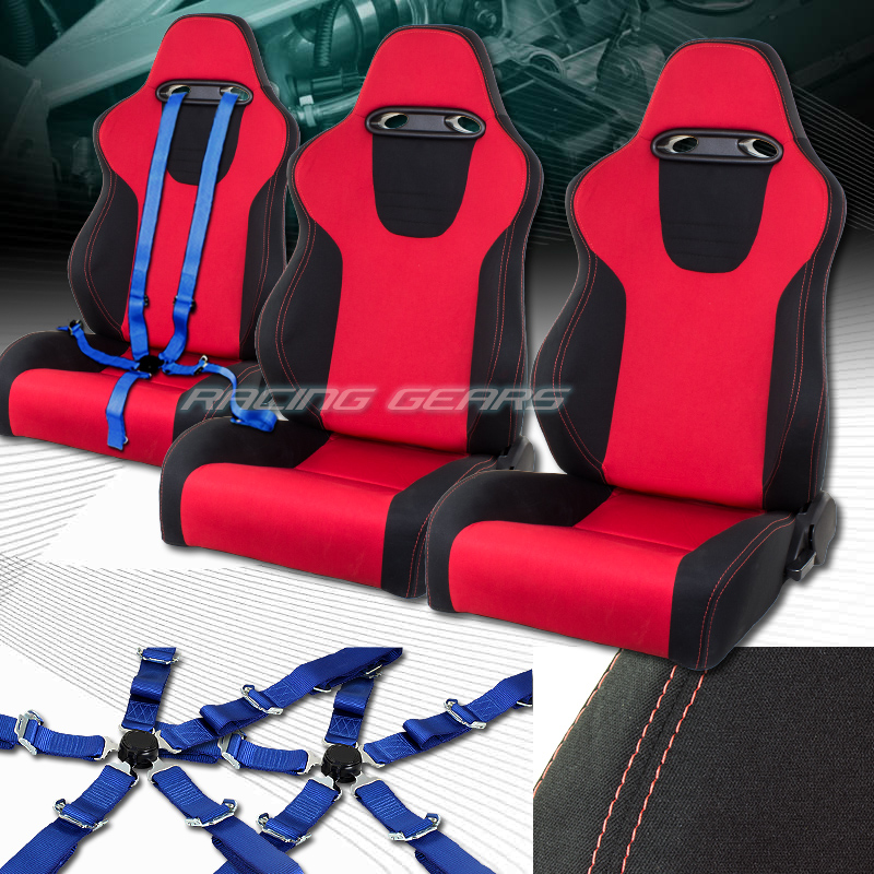2 X UNIVERSAL TYPE-XL RED/BLK CLOTH SPORTS RACING SEATS+5-POINT BLUE