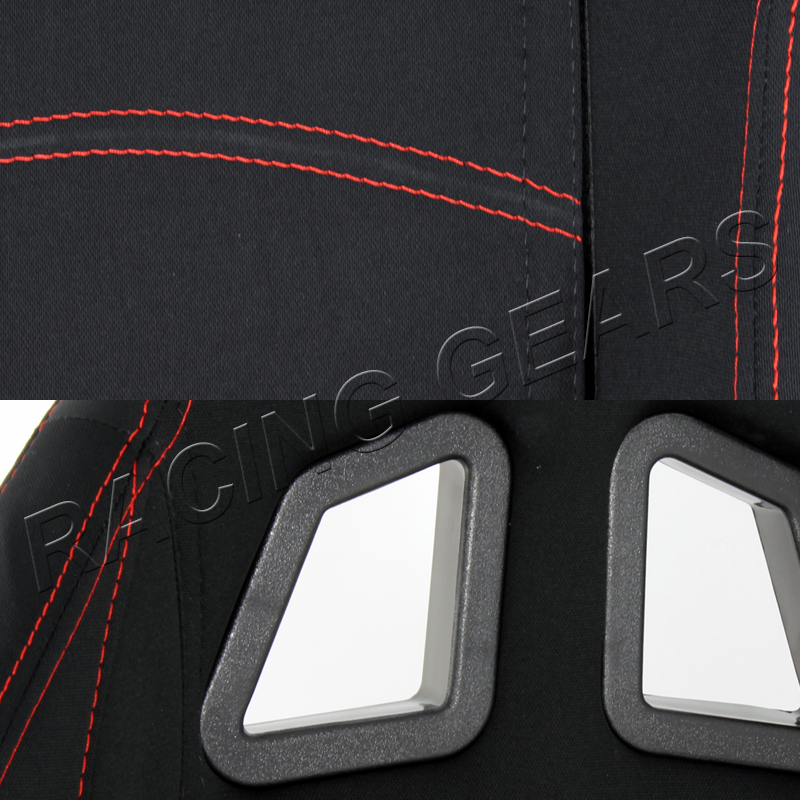 Chevy Bolt Seat Comfort >> 2x Chevy T1 Style Black Cloth Red Stitching Reclinable Racing Seats + Slider   eBay