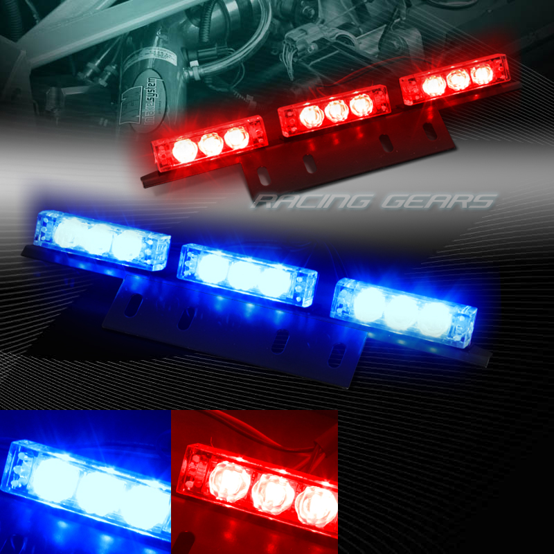 18 led red blue truck emergency hazard warning flash strobe light universal 9 ebay. Black Bedroom Furniture Sets. Home Design Ideas