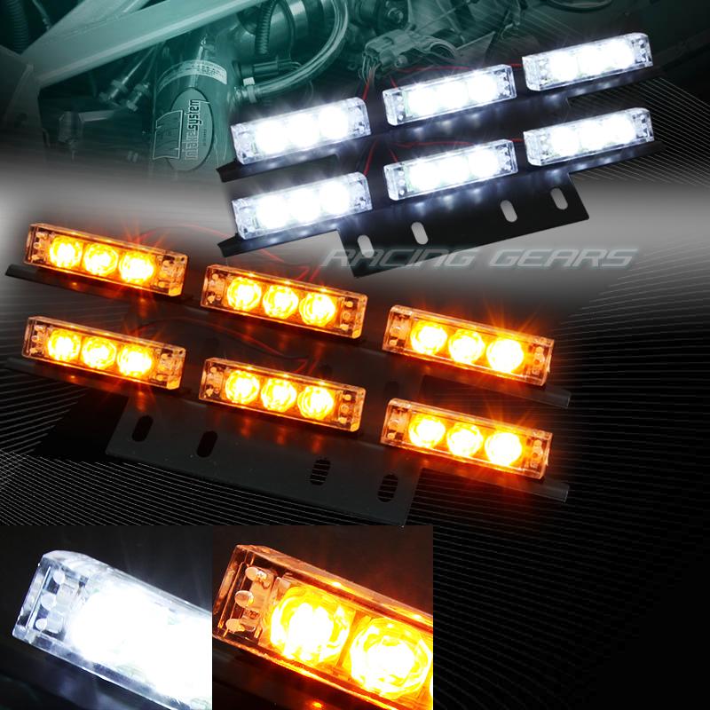 LED Amber & White Hazard Grille Strobe Lights Suburban Silverado Yukon