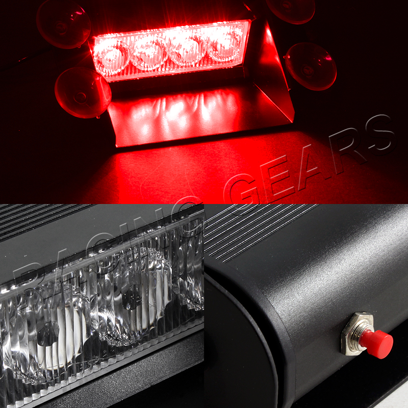 4 led red emergency car truck suv dashboard warning flash. Black Bedroom Furniture Sets. Home Design Ideas