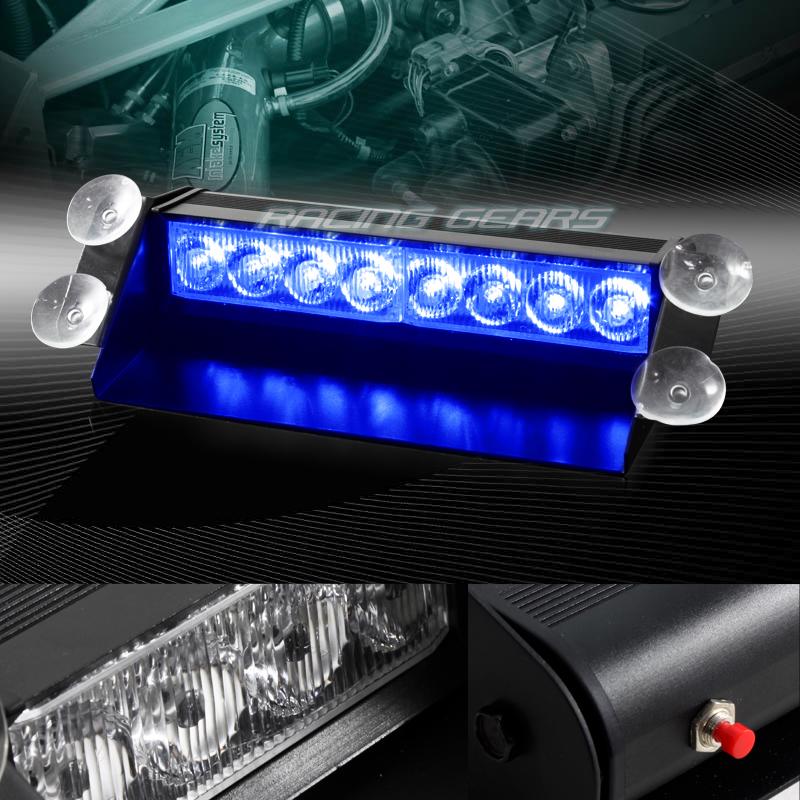8 LED BLUE EMERGENCY CAR TRUCK DASHBOARD WARNING FLASH STROBE ...