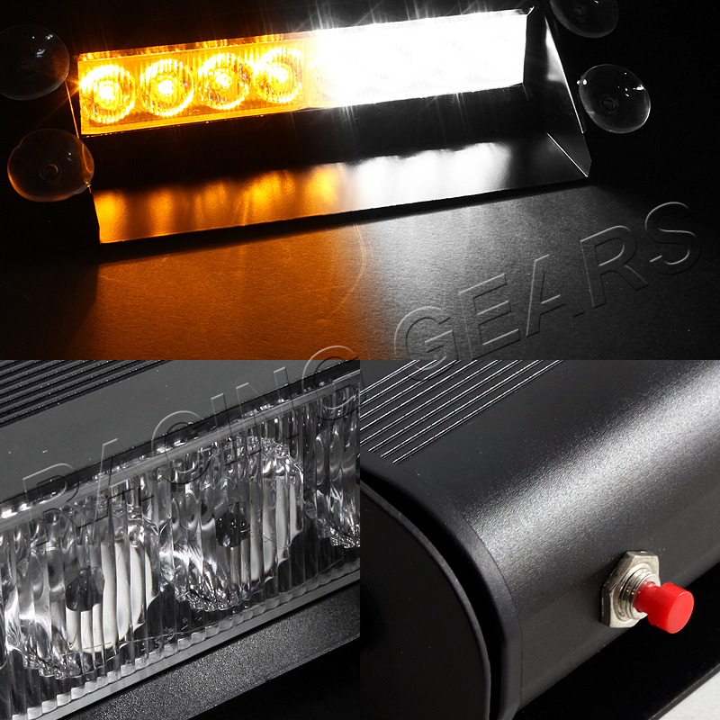 8 LED AMBER & WHITE EMERGENCY CAR TRUCK DASHBOARD WARNING