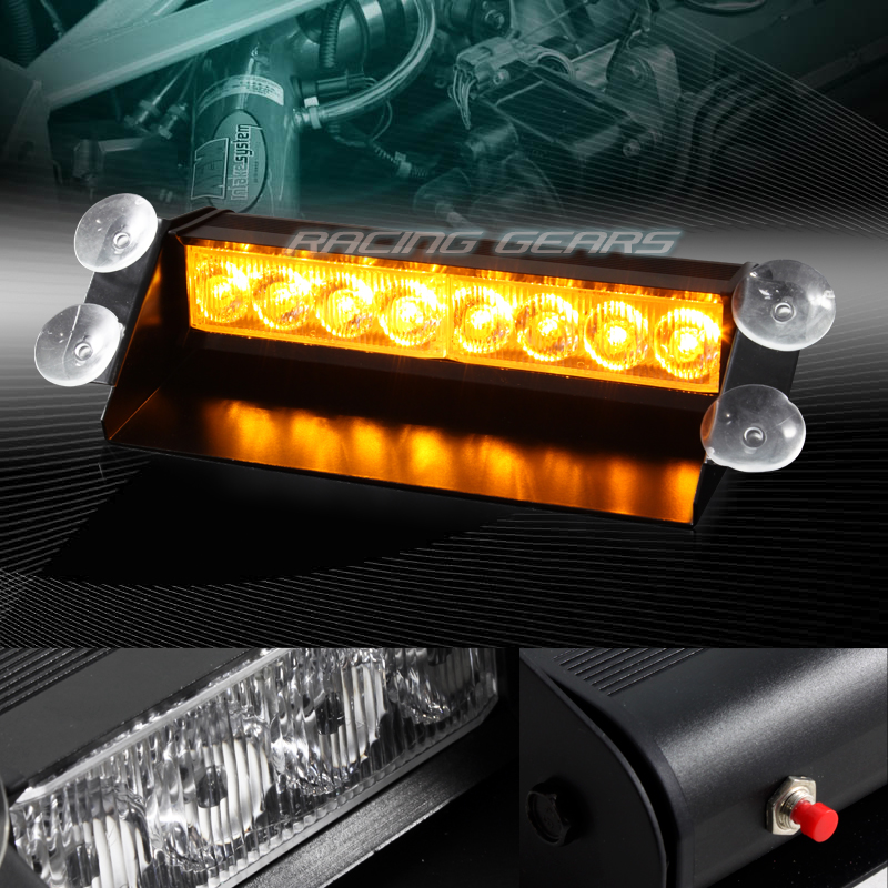 8 LED AMBER EMERGENCY CAR TRUCK SUV DASHBOARD WARNING