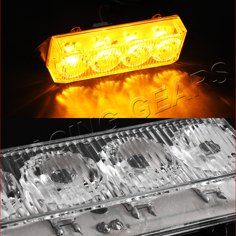 16 led car truck emergency hazard warning grille flash strobe light kit amber ebay. Black Bedroom Furniture Sets. Home Design Ideas